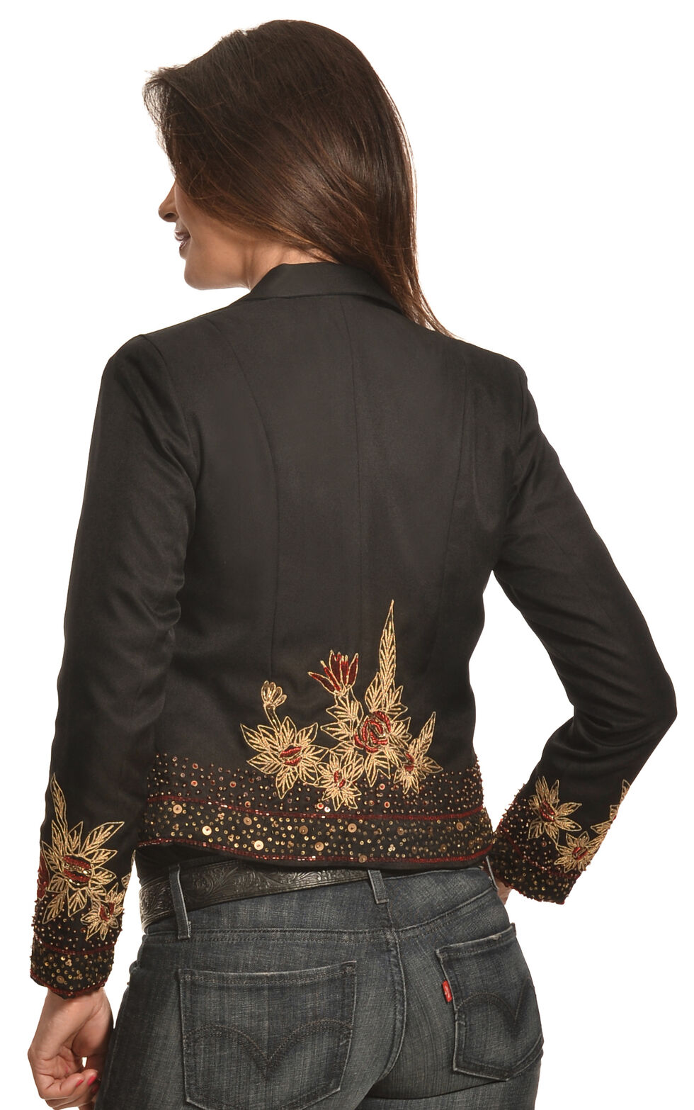 Pink Cattlelac Women's Beaded and Embroidered Blazer , Black, hi-res