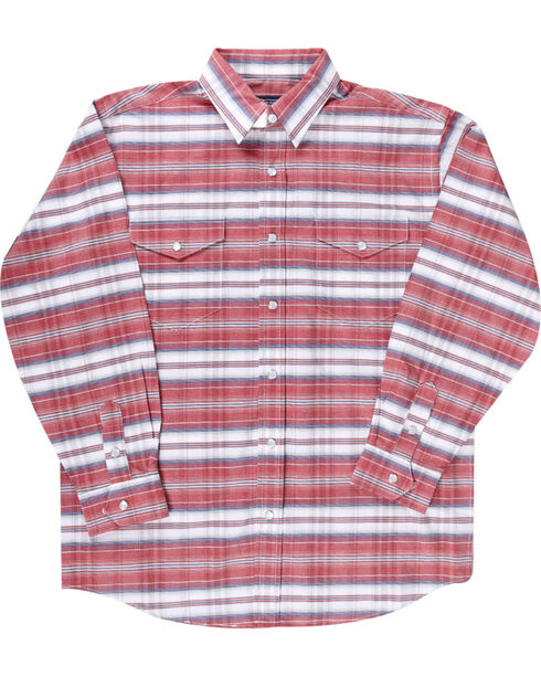 Rough Stock by Panhandle Boys' Red Striped Long Sleeve Shirt , Red, hi-res