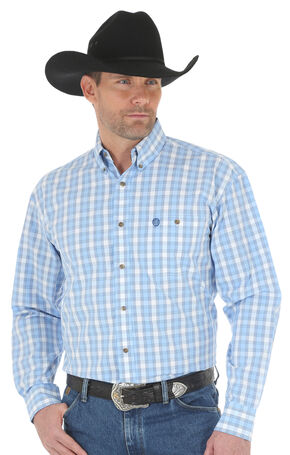 Wrangler George Strait Men's Blue Poplin Plaid Button Shirt - Big & Tall, Blue, hi-res
