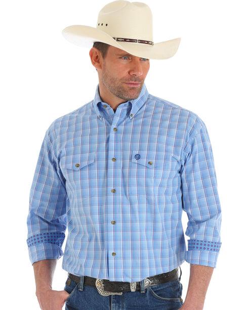 Wrangler George Strait Men's Blue Long Sleeve Shirt - Tall , Blue, hi-res