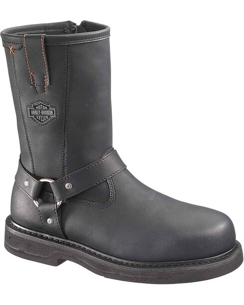 Harley Davidson Men's Bill Harness Boots - Steel Toe, Black, hi-res