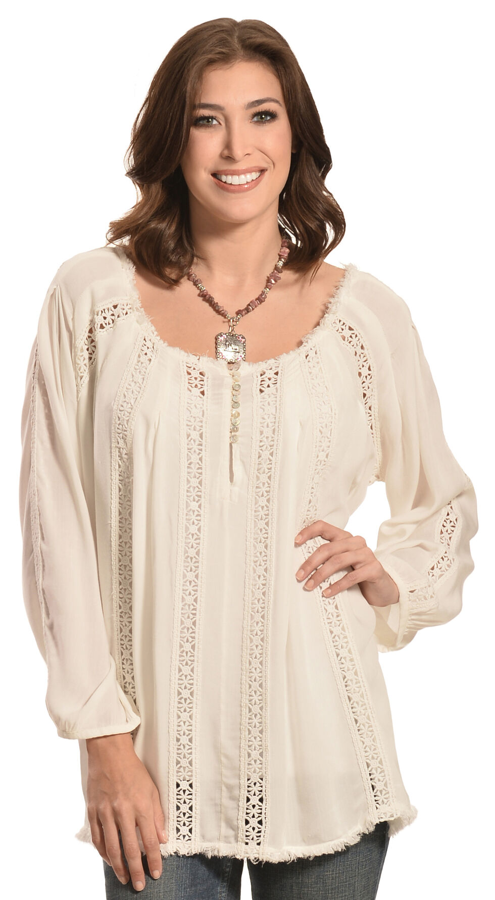 R Cinco Ranch Women's Layla Peasant Top, White, hi-res