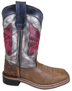 Smoky Mountain Youth Girls' Riley Western Boots - Square Toe, Brown, hi-res
