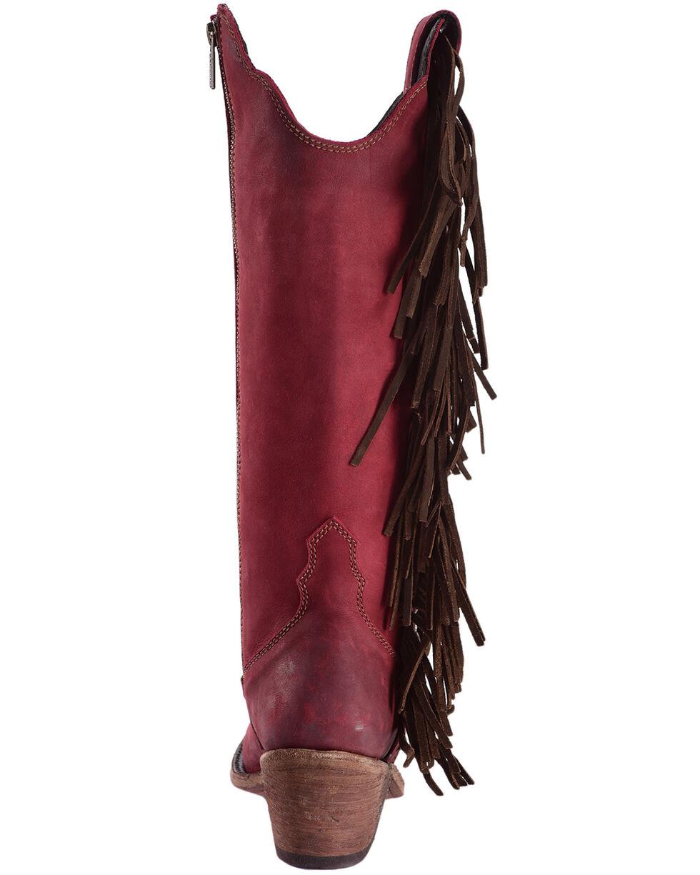 Liberty Black Women's Vegas Rojo Concho Fringe Boots, Red, hi-res
