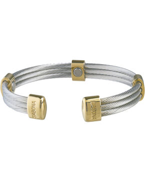 Sabona Men's Trio Cable Stainless Steel & Gold Magnetic Wristband, Two Tone, hi-res