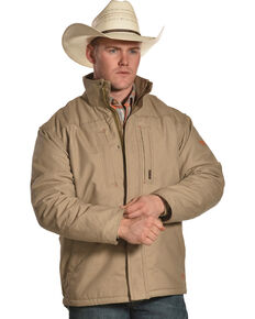 Ariat Men's FR Lined Workhorse Work Jacket, Beige/khaki, hi-res