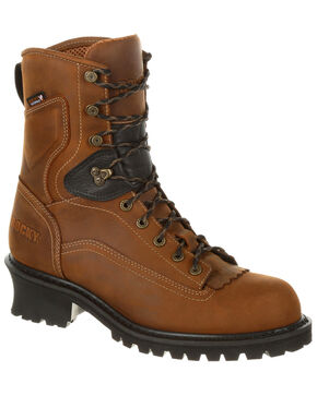 "Rocky Men's Sawblade Waterproof 9"" Logger Work Boots - Safety Toe, Russett, hi-res"
