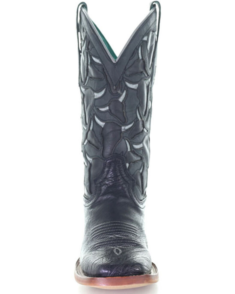 Corral Women's Ostrich Inlay Western Boots - Square Toe, Black, hi-res