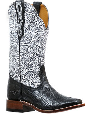 Boulet Women's Black Louisiana Daisy Boots - Square Toe , Black, hi-res