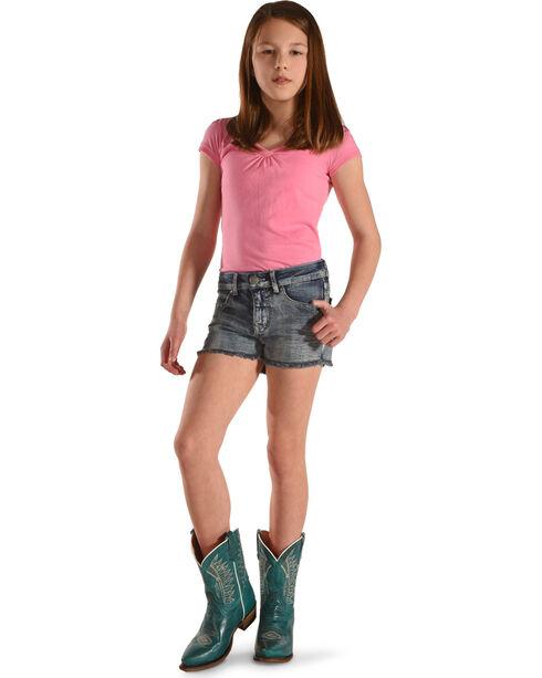 Silver Girls' Lacy Frayed Hem Denim Shorts, Indigo, hi-res