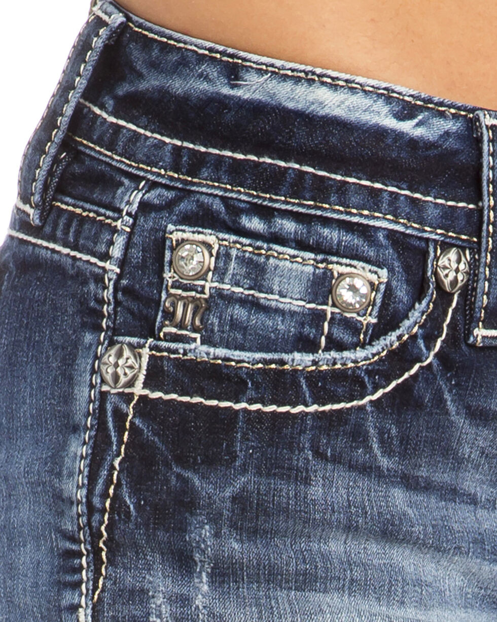 Miss Me Women's Rise Up Mid-Rise Shorts, Indigo, hi-res