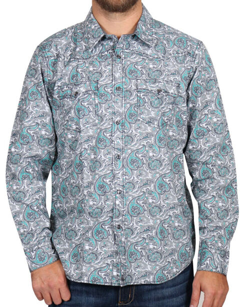 Cody James Men's Rodeo Paisley Long Sleeve Shirt, Grey, hi-res
