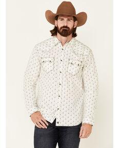 Moonshine Spirit Men's Commanche Chambray Geo Print Long Sleeve Snap Western Shirt , Ivory, hi-res