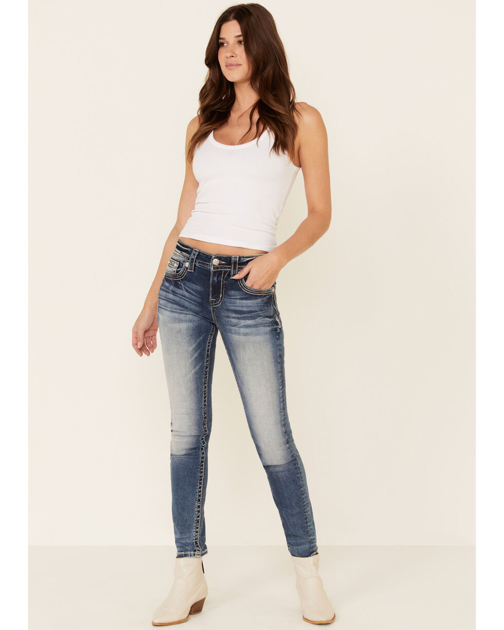 Miss Me Womens Smell The Roses Hailey Skinny Jeans with Horseshoe Details