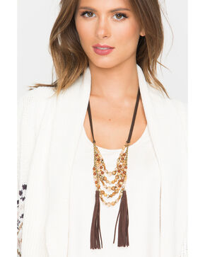 Shyanne Women's Adilene Five Row Beaded Tassel Necklace, Gold, hi-res