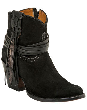 Lucchese Handmade Robyn Hand Tooled Feather Booties , Black, hi-res