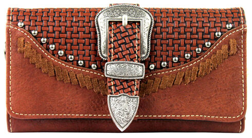 Montana West Trinity Ranch Buckle Wallet with Basket Weave, , hi-res