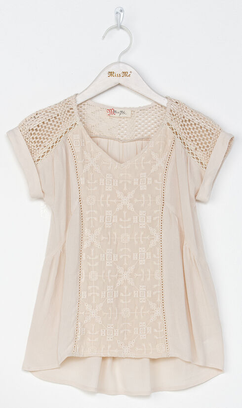 Miss Me Girl's Taupe Be My Babydoll Top , Taupe, hi-res