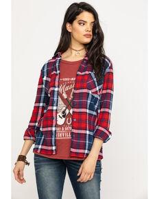 Derek Heart Women's Plaid Flannel Tunic , Navy, hi-res