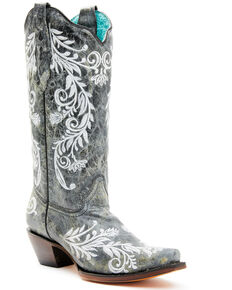 Corral Women's Black Embroidery Glow in the Dark Western Boots - Snip Toe, Black, hi-res