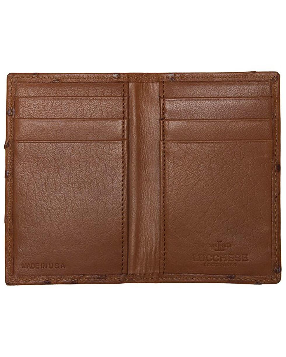 Lucchese Men's Cognac Ostrich BiFold Wallet , Cognac, hi-res