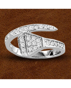 Kelly Herd Sterling Silver Wrap Around Rhinestone Nail Ring, Silver, hi-res