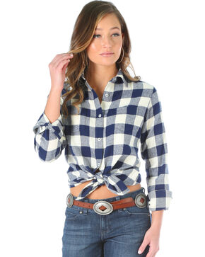 Wrangler Women's Navy Buffalo Check Plaid Top , Multi, hi-res