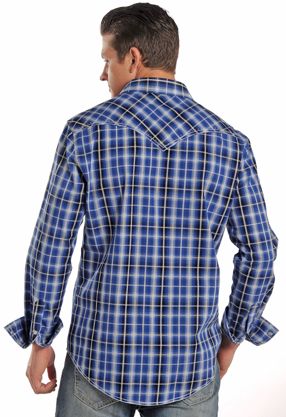 Rock & Roll Cowboy Men's Blue Plaid Western Shirt, Blue, hi-res