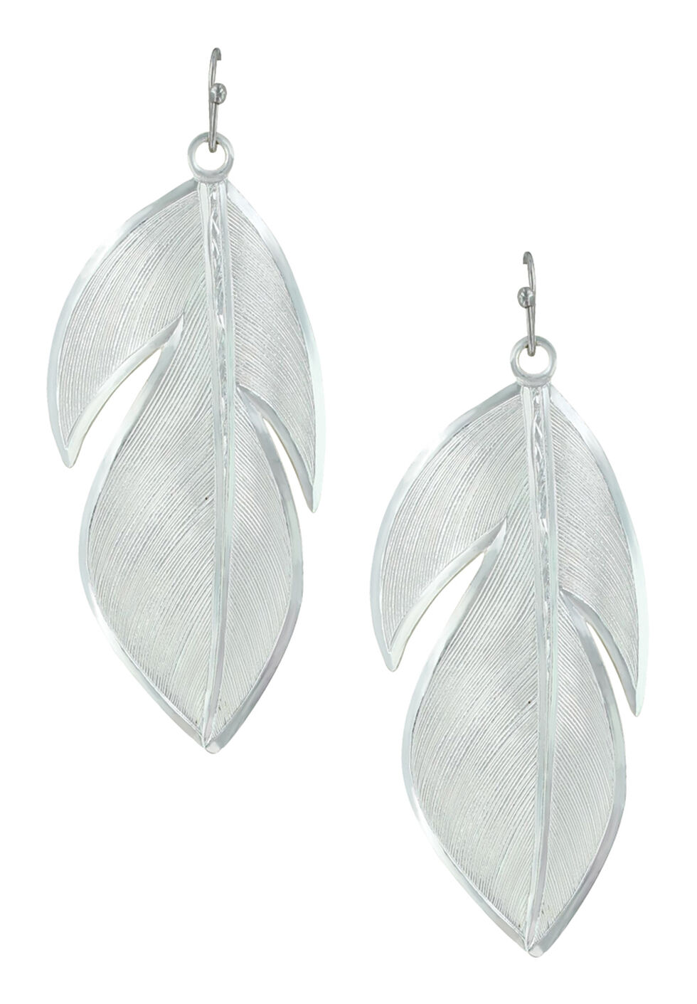 Montana Silversmiths Women's Floating Feather Earrings, Silver, hi-res