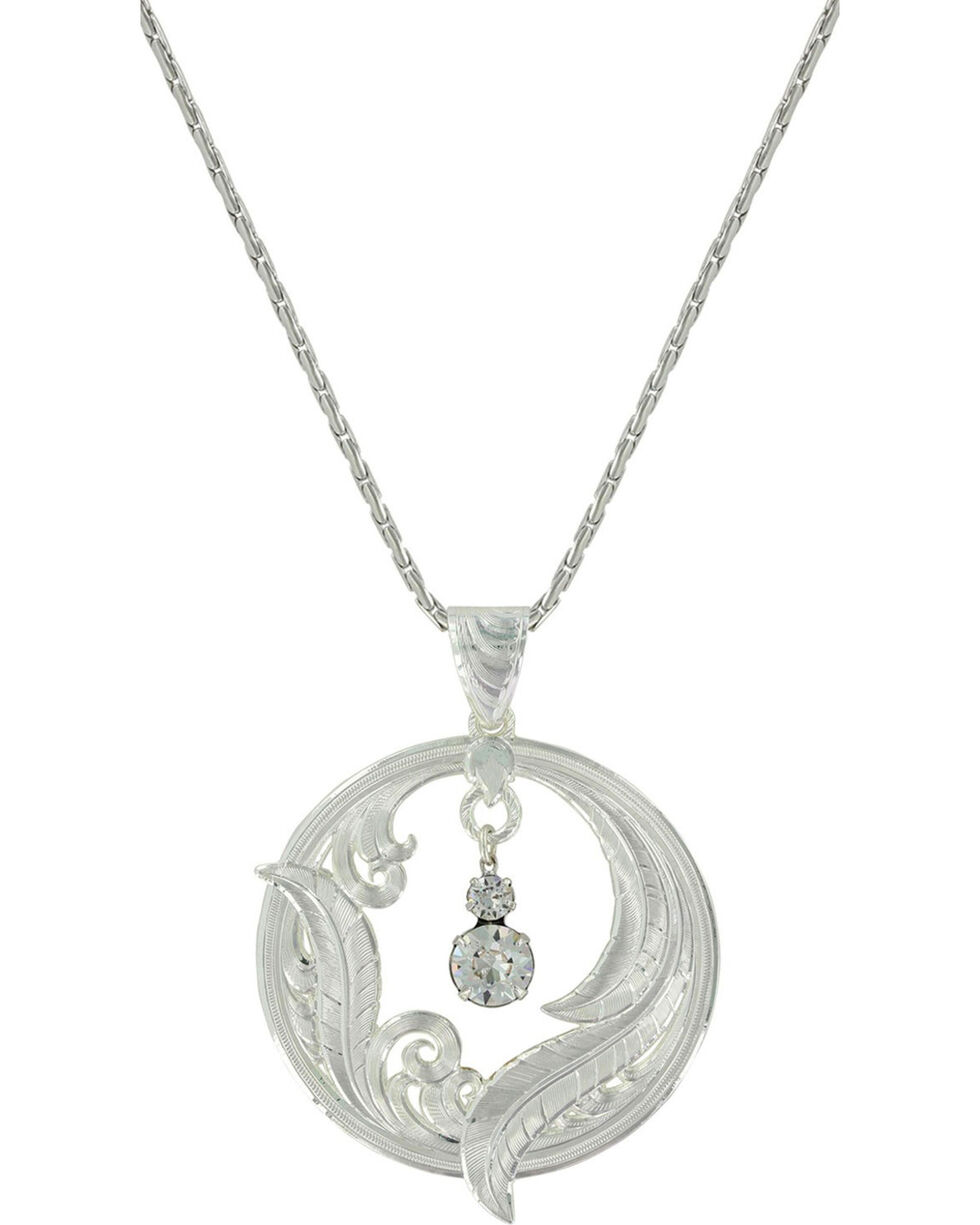 Montana Silversmiths Women's Silver Circle of Feather Necklace , Silver, hi-res