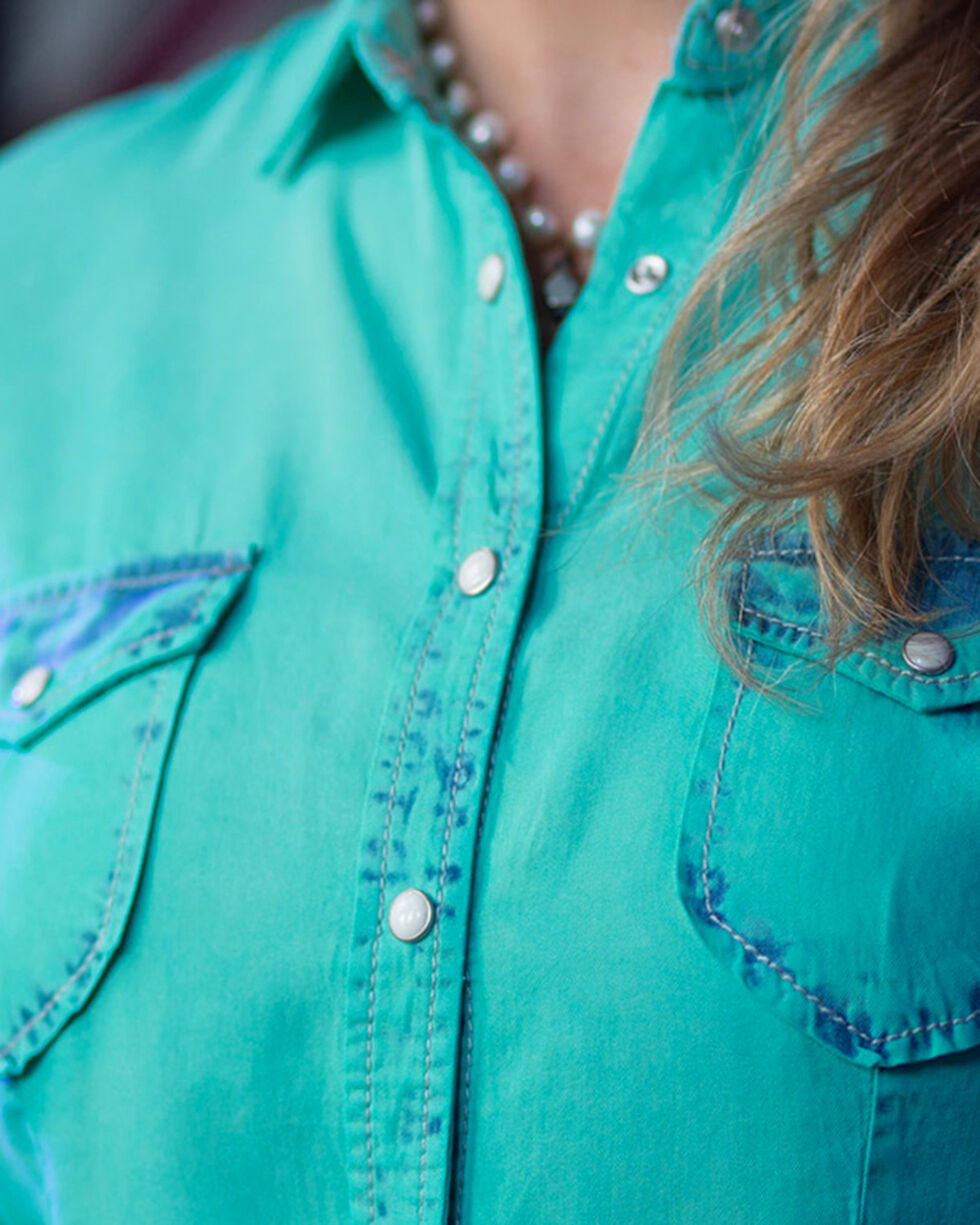 Ryan Michael Women's Fountain Neon Bleached Shirt , Turquoise, hi-res