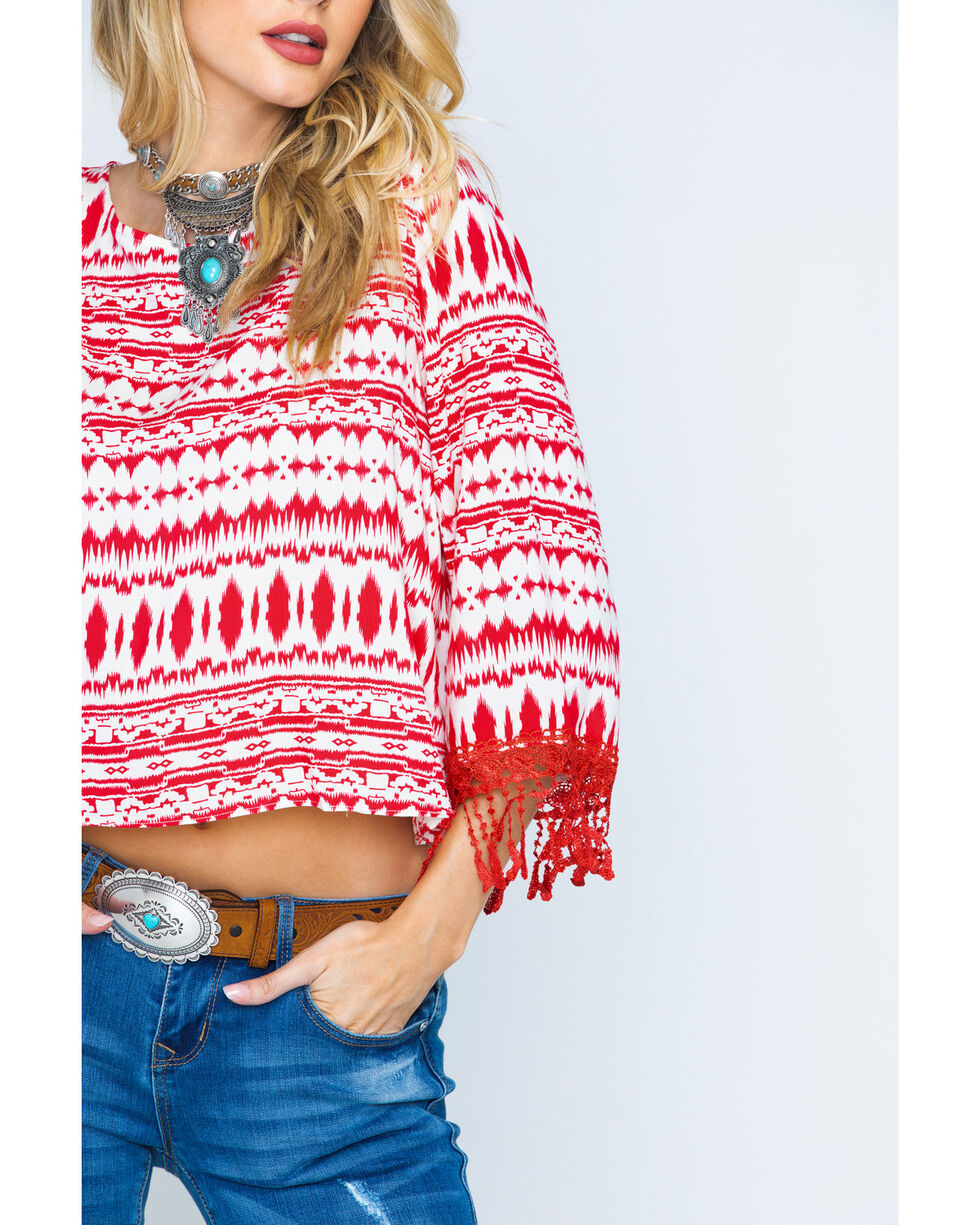 Cowgirl Up Women's Southwestern Print Split Back Top, Print, hi-res