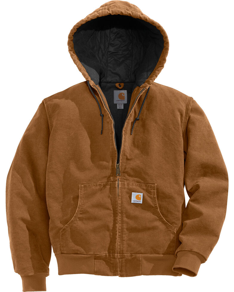 Carhartt Flannel Lined Sandstone Active Jacket - Big and Tall, Brown, hi-res