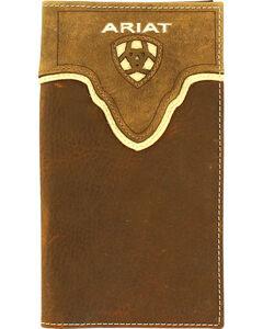 Ariat Men's Rodeo Leather Overlay Wallet , Medium Brown, hi-res