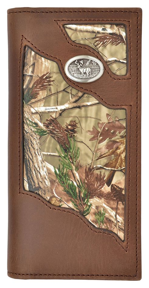 3D Badger Brown Leather Camo Inlay Buck Concho Outdoor Rodeo Wallet, Multi, hi-res