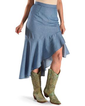 New Direction Sport Women's Indigo High Low Ruffle Hem Skirt , Indigo, hi-res