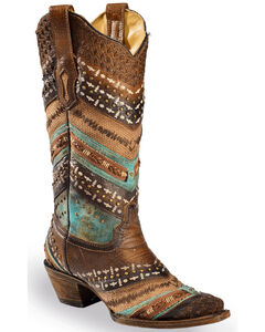 Corral Brown & Turquoise Embroidery and Studs Cowgirl Boots - Narrow Square Toe, Brown, hi-res