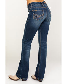 Rock & Roll Cowgirl Women's Dark Mid-Rise Arrow Bootcut Jeans, Blue, hi-res