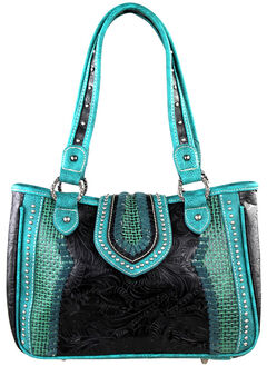 Montana West Trinity Ranch Black Tooled and Basket Weave Handbag, Black, hi-res