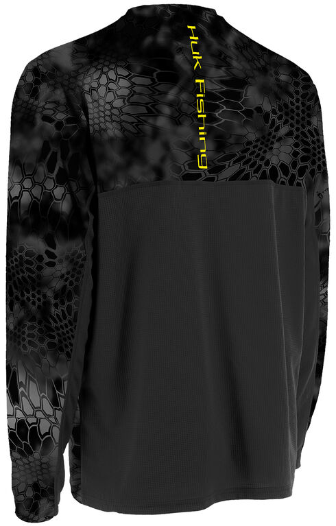 Huk Men's Grey Kryptek ICON Long Sleeve Top , Yellow, hi-res