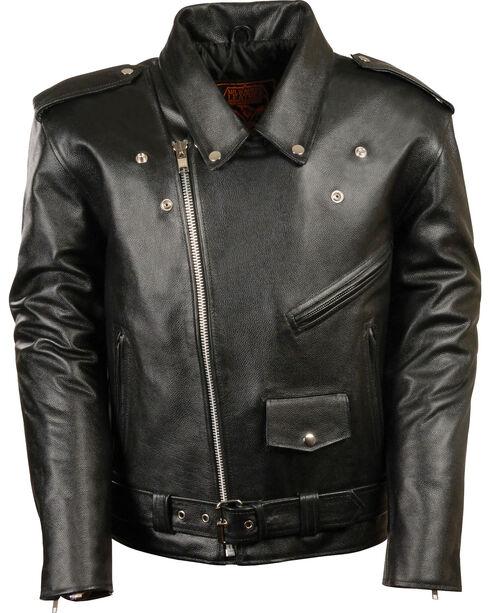 Milwaukee Leather Men's Black Classic Police Style M/C Jacket - Big 3X , Black, hi-res