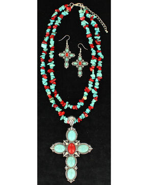 Blazin Roxx Women's Turquoise and Red Cross Jewelry Set , Rust Copper, hi-res