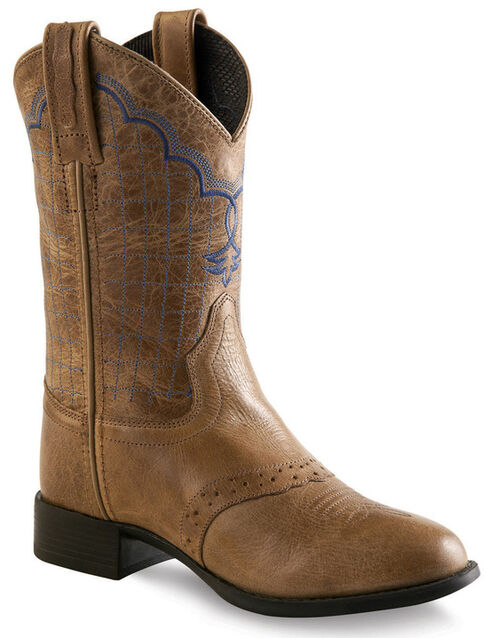 Old West Tan Youth Western Boots - Round Toe , Tan, hi-res