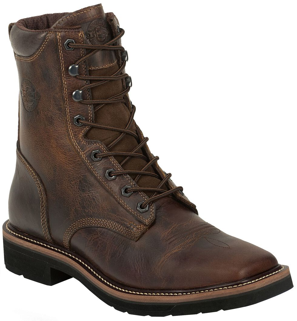 """Justin Men's Stampede Pulley 8"""" Lace-Up Work Boots - Soft Toe, Rugged, hi-res"""