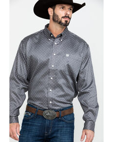 Cinch Men's Grey Geo Print Plain Weave Long Sleeve Western Shirt , Grey, hi-res
