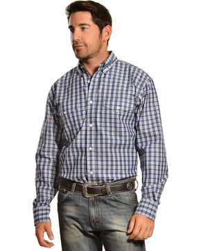 Gibson Trading Co. Navy and Grey Plaid Long Sleeve Shirt, Navy, hi-res