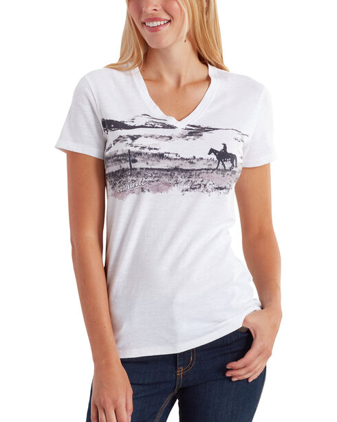 Carhartt Women's Wellton Short Sleeve V-Neck Graphic T-Shirt , White, hi-res