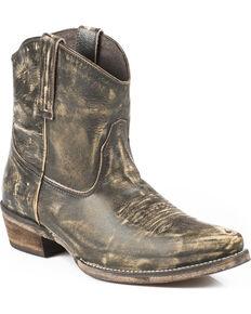 Roper Dusty Distressed Booties - Snip Toe, Brown, hi-res
