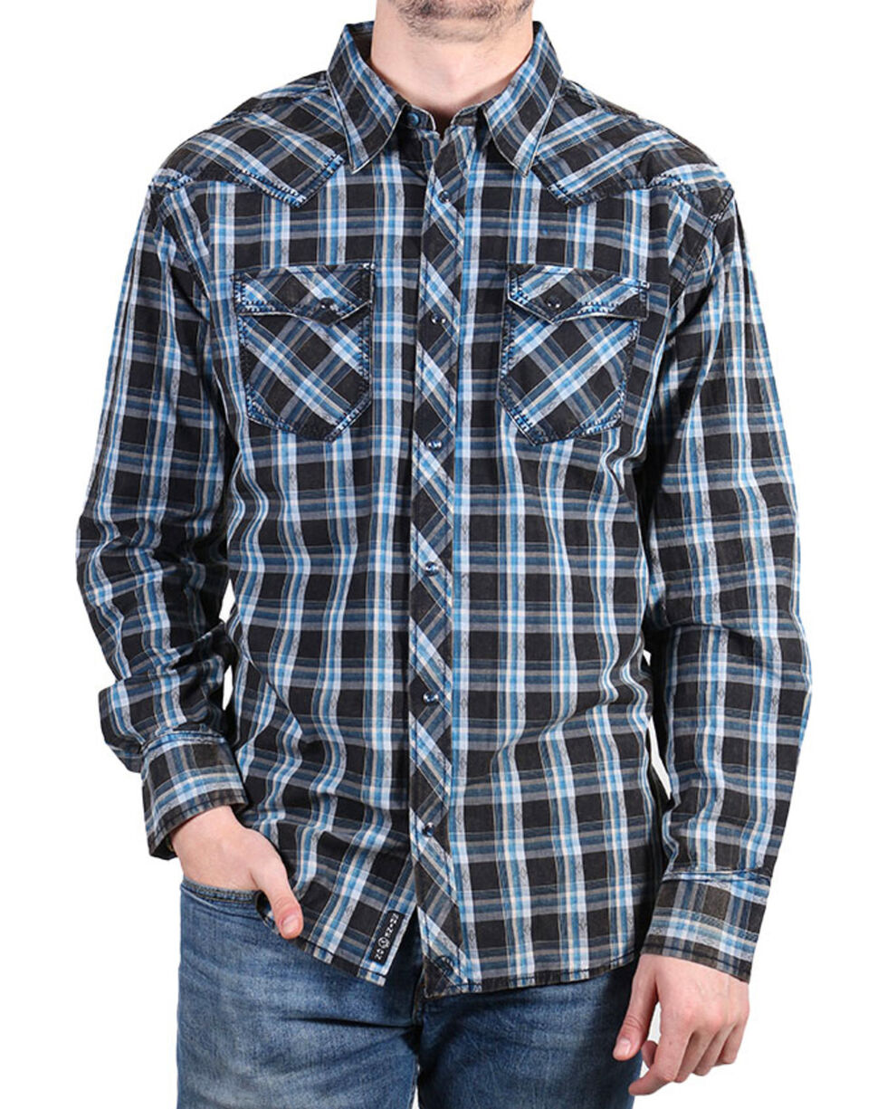 Moonshine Spirit® Men's Diamond Back Plaid Long Sleeve Shirt, Black, hi-res