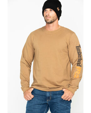 Timberland Men's Base Plate Long Sleeve Logo T-Shirt , Wheat, hi-res